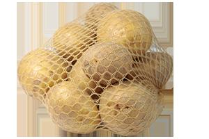Braunes Netz um Kartoffeln