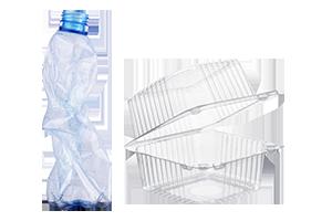 Plastikflasche und Verpackung